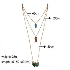 Newest necklace women Multi layer Geometric imitative natural crystal stone gold silver plated necklaces & pendants collier