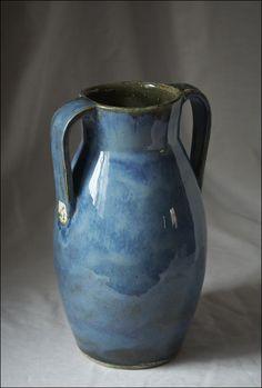 Handmade Ceramic Blue Vase with handles by Boris Vitlin by OhBear, $200.00