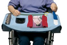 """Fidget blankets or aprons are way to keep the hands busy of those with moderate to severe Alzheimer's disease. They feature different textures to feel and simple activities to do, such as zipping and unzipping a zipper. Some people prefer to use blankets, which feel """"natural"""" to keep on their lap for someone with Alzheimer's disease."""