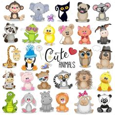Buy Set of Cartoon Animals by on GraphicRiver. Set of Cute Cartoon Animals on a white background Baby Animal Drawings, Cartoon Drawings Of Animals, Cute Cartoon Animals, Baby Cartoon, Cute Baby Animals, Cute Drawings, Disney Drawings, Cartoon Ideas, Cute Cartoon Images