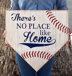 There's No Place Like Home, Pallet Home Plate Sign, Baseball Decor, Rustic Wood Sign