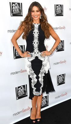 Sofia Vergara in a black and white lace dress