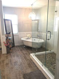 Bathroom Remodel Master Bathroom, clawfoot tub, bathtub, chandelier, blogger, grey bathroom, fixer upper, DIY, modern bathroom, home, decor