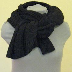 Scarf Jumbo Black Wool Mohair Acrylic by Initasworks on Etsy