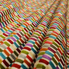 10 Meters Of Soft Woven Jacquard Velvet Fabric Bright Coloured Block Pattern Upholstery Fabrics For Sofas Curtains & Furnishings Upholstery Fabric For Chairs, Cushion Fabric, Upholstered Chairs, Fabric Finders, Made To Measure Curtains, Handmade Cushions, Pattern Blocks, Fabric Patterns, Seat Cushions