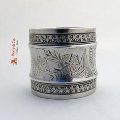 Acorn Oak Leaf Butterfly Napkin Ring Gorham USC June 15 1881 Sterling Silver