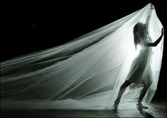 Cassandra and her veil/shroud. Love all of this. Love the light. Love the physicality. Love it all!