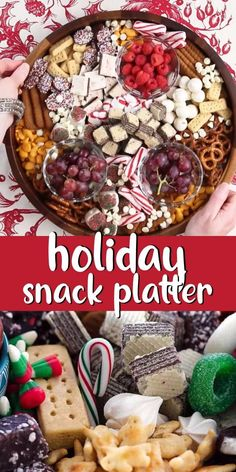 Put together a fun and festive Christmas Snack Platter for your holiday party. This easy party tray is filled with sweet and savory snacks that are perfect for kids of all ages! #christmasrecipes #holidayrecipes #cheeseboard Holiday Snacks, Christmas Party Food, Christmas Brunch, Xmas Food, Snacks Für Party, Christmas Sweets, Christmas Cooking, Holiday Recipes, Christmas Meal Ideas
