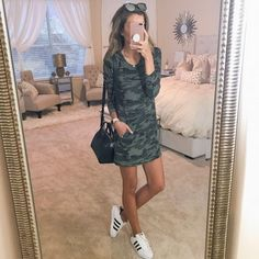 Comfy in camo  this cute dress is the perfect 'throw-on-and-go' piece! Paired it with some favorite sneaks for running around this afternoon. You can shop your screenshot of this look from the LTK app or simply click the direct link in my profile // @liketoknow.it - http://liketk.it/2s6my #liketkit #LTKunder50 #LTKunder100