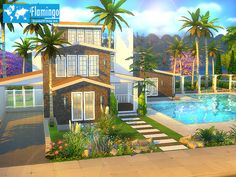 Flamingo house by BrandonTR at TSR via Sims 4 Updates