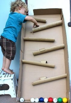 Make a boredom-buster ball maze out of cardboard tubes and boxes! | Spark | eHow.com