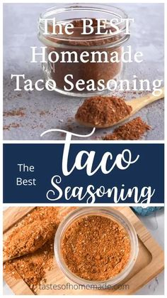 This is the best and easiest taco seasoning. With only 7 simple spices and less than 5 minutes to make you will never buy packaged taco seasoning again. Great on tacos, burritos, fajitas, chilli, chicken or any recipe that calls for taco seasoning. Chicken Taco Seasoning, Chicken Spices, Seasoning Mixes, Mexican Spices For Chicken, Recipe For Taco Seasoning, Homemade Spices, Homemade Seasonings, Homemade Tacos, Baked Chicken Recipes
