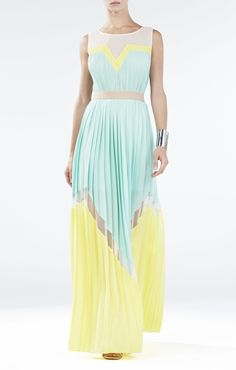 Love the pleats and color combination. | BCBGMAXAZRIA Kathrine Pleated Color-Blocked Long Dress | BCBG.com
