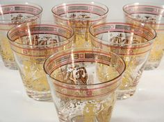 Vintage 1950s Signed Georges Briard Rocks Glasses Olympia Pattern Greek Figures