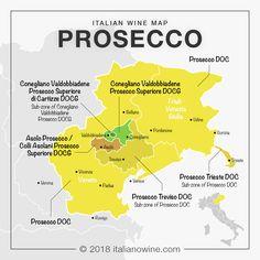 Italian wine map: production area of Prosecco in Veneto and Friuli-Venezia Giuli. - Expolore the best and the special ideas about Italian wine Wine Temperature, Prosecco Doc, Wine News, Wine Vineyards, Wine Guide, In Vino Veritas, Italian Wine, Sparkling Wine, Wine Country