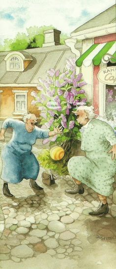 two old ladies playing ball