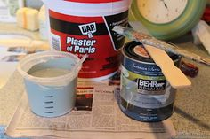 Chalk Paint Recipe using Plaster of Paris. I've tried several of the homemade versions of chalk paint and so far this has been the best. Make Chalk Paint, Homemade Chalk Paint, Paint Stain, Annie Sloan Chalk Paint, Milk Paint, Plaster Paint, Chalky Paint, Paint Finishes, Clear Plastic Containers