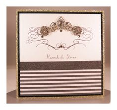 Gold glitter and black make this design bang on trend. Embellished with a cluster of jewels. Gold Invitations, Gold Glitter, Jewels, Luxury, Frame, How To Make, Beautiful, Black, Design