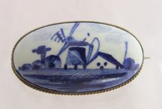 Vintage Sterling Silver Frame Delft Porcelain Holland Blue Windmill House Pin Brooch