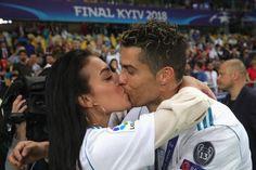 Cristiano Ronaldo of Real Madrid celebrates with Georgina Rodriguez. #realmadrid
