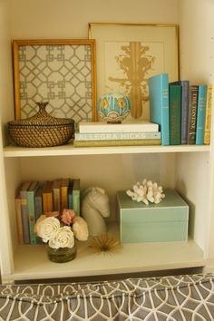 Texture, dimension and color along with loved items.  Those are the ingredients for decorating your shelves.