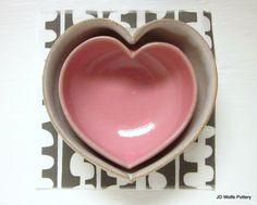 two nesting hearts pink and white by JDWolfePottery on Etsy