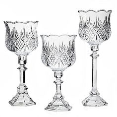 "Dublin Crystal 3-pc Hurricane Lamp Candlestick Set. 10½"", 12½"" and 14½"". $74.99/Set of 3 at bedbathandbeyond.com, 9/3/15"