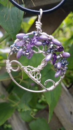 Tree of Life with amethyst chips and seed beads