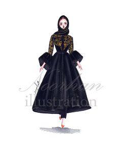Fashion Figure Drawing, Fashion Drawing Dresses, Fashion Illustration Dresses, Dress Design Sketches, Fashion Design Drawings, Fashion Sketches, Muslim Fashion, Modest Fashion, Hijab Fashion