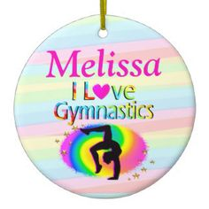 PRETTY PERSONALIZED I LOVE GYMNASTICS ORNAMENT Every Gymnast will be inspired with our awesome personalized I love Gymnastics Gifts https://www.zazzle.com/collections/i_love_gymnastics_personalized_gifts-119756173861570670?rf=238246180177746410&CMPN=share_dclit&lang=en&social=true  Gymnastics #Gymnast #WomensGymnastics #personalizedGymnast