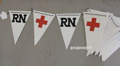 RN. #Nursing. Graduation. #Healthcare. Red Cross. Banner. #PartyDecorations.