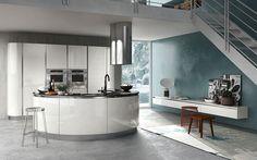Circular White Kitchen Island Design Among Modern Decoration Ideas Used White Kitchen Cabinet Also Black Kitchen Countertop Design Ideas