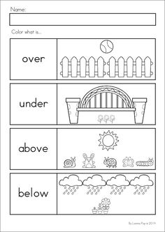 Positional words worksheet | Kid Crafts and Education | Pinterest ...