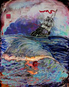 "Saatchi Art Artist norton wisdom; Printmaking, ""surfer with pirate ship"" #art"