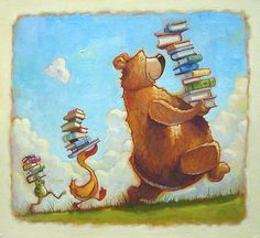 Venimos, cargados de libros, de la biblioteca! (ilustración de Mike Wohnoutka)