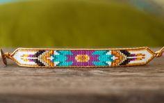 Turquoise Purple Seed Bead and Leather Tribal Loom Beaded