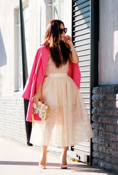 Double Sheers: Creamy Skort and Oversized Pink Coat - Hallie Daily