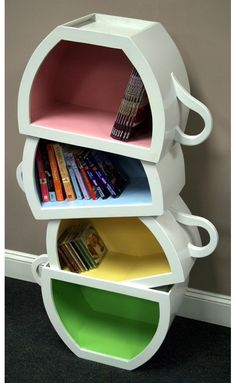 Stacked Teacups book case.