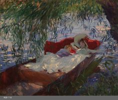 """""""Lady and Child Asleep in a Punt under the Willows"""" (England, 1887)  Sargent's Impressionist period can be dated to the latter half of the 1880s, during which he initially concentrated his efforts on producing Carnation, Lily, Lily, Rose (Tate Britain, London) from 1885-1886. The second stage, which occurred a little later, coincides with a period in which he spent some time with Claude Monet in …"""