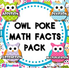 ($) Poke games are a creative, simple, self-checking way for students to practice their math facts. And the cute owl design will be sure to grab your students' attention. My students love them! Included inside this 55-page title: Owl Poke Addition All Facts 1-12 Owl Poke Subtraction All Facts 1-9 Owl Poke Multiplication All Facts 1-12 Owl Poke Division All Facts 1-12