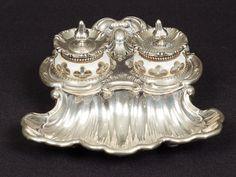 Tinteiro em prata Austro-húngara contrastada do séc. XIX, no estilo…