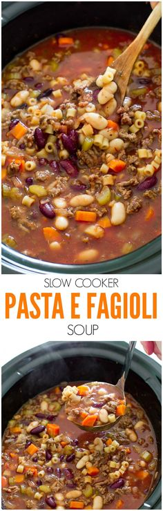 15 Delicious Looking Slow Cooker Soup Recipes Super Easy Slow Cooker Pasta e Fagioli Soup. Rich, hearty and loaded with veggies and meat. A perfect, comforting soup for Fall!Super Easy Slow Cooker Pasta e Fagioli Soup. Rich, hearty and loaded with veggies Crock Pot Recipes, Crock Pot Cooking, Slow Cooker Recipes, Beef Recipes, Cooking Recipes, Recipies, Crockpot Meals, Healthy Recipes, Shrimp Recipes