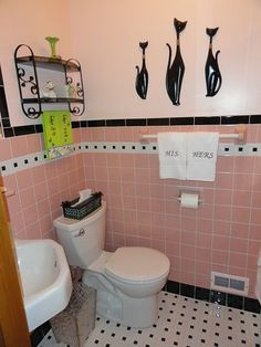 "black and white mosaic tile used on our floor at Lowe's [American Olean Chloe pinwheel tile with black dot],      complimentary color to pink and black was a slightly lighter shade of pink than  the tile. s Valspar ""Sugar Pink"" purchased at Lowe's.  We did use a very high dollar primer on the walls that we purchased from a specialty paint store that is specifically"