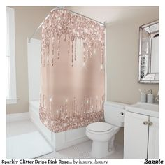 Sparkly Glitter Drips Pink Rose Gold Blush Glam Shower Curtain luxury sparkly girly pink rose ShowerCurtain - Make you big day the best! Rose Gold Shower Curtain, Gray Shower Curtains, Custom Shower Curtains, Rose Gold Curtains, Gold Bathroom, Small Bathroom, Glitter Bathroom, Girl Bathrooms, Dream Bathrooms