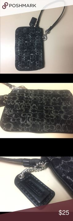 Black and grey Coach Wristlet • Authentic Coach wristlet  • Purchased at the Base Exchange (BX) on Davis - Monthan AFB I Tucson, Arizona  • Black with grey and silver accents.  • Excellent used condition Coach Bags Clutches & Wristlets