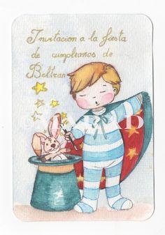 Ilustración infantil invitación de cumpleaños http://aleja-lenteja.blogspot.com.es/