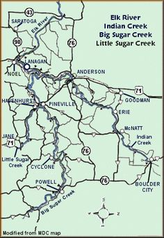 Elk River, Indian Creek, Big Sugar and Little Sugar map courtesy MDC