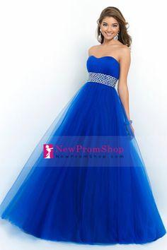 2015 Classic Prom Dress Strapless A Line/Princess open back Beaded Waistline Tulle Skirt
