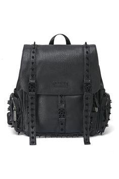 Thriller Studded Backpack [B] Studded Backpack, Studded Purse, Black Leather Backpack, Backpack Purse, Leather Bag, Fashion Bags, Fashion Backpack, Vogue, Shopping