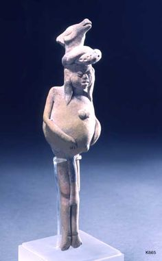 Justin Kerr: Image: 665 File date: 2001-02-01 Caption: Jaina Figure Description: Maya. clay. Jaina. height 19.0 cm. Figure wearing deer headdress with swollen belly and thin legs. Probably a liver disease.